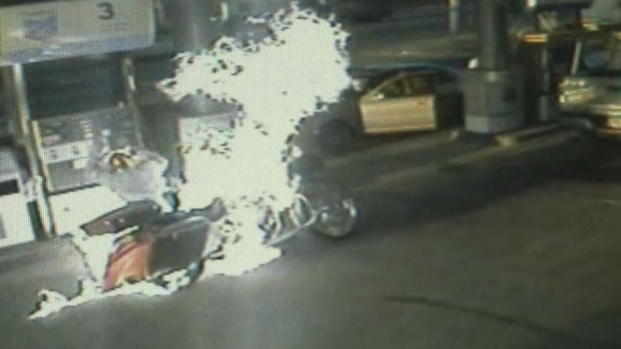 Man Catches on Fire at Gas Pump, Helped by Bystanders