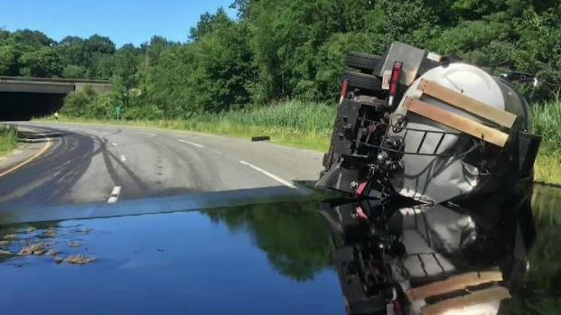 [NECN] Ramp to I-95 in Peabody Closed After Truck Rolls Over