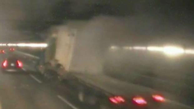 [NECN] WATCH: Tractor Trailer Takes Out Part of O'Neill Tunnel