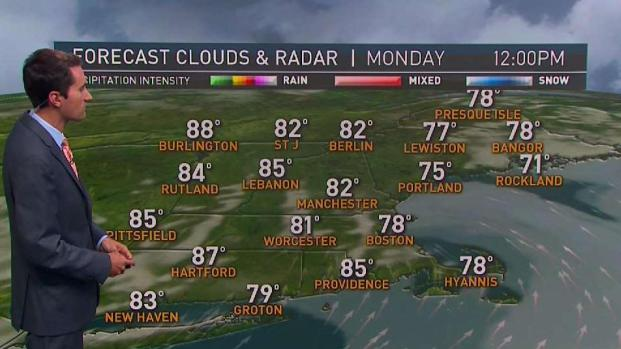 [NECN] Warm, Wet Start to Week