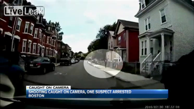 [NECN] Shooting Caught on Camera; 1 Suspect Arrested