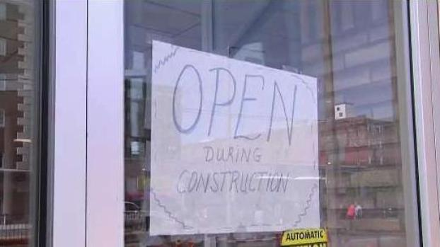 [NECN] Local Businesses Near Comm. Ave Construction Post 'Open' Signs