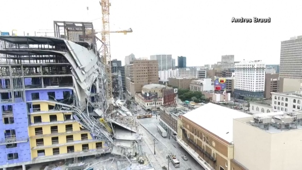 Watch: Drone Footage Shows Hotel After Collapse