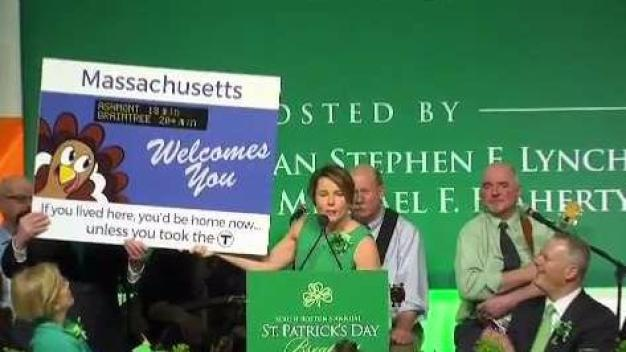 AG Maura Healey Has Fun With Political Signs