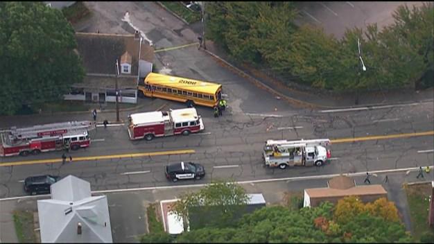 AERIAL FOOTAGE: School Bus Crash Leaves 5 Hurt