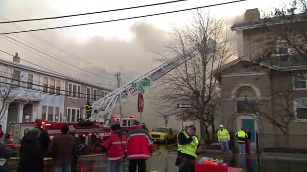 Firefighters Battle 10-Alarm Blaze in Cambridge