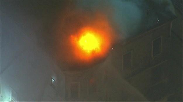 AERIAL FOOTAGE: Crews Battle 10-Alarm Fire