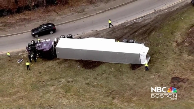 Tractor-Trailer Rolls Over on I-495 Northbound Ramp