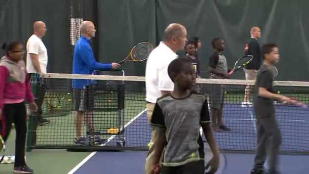 Over 100 Kids Play Tennis With Boston Police