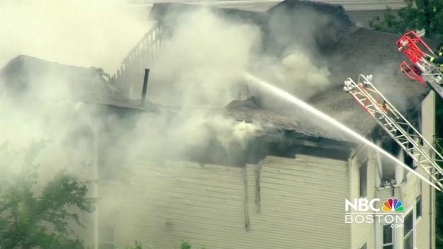 Firefighters Battle Fire in Lawrence, Massachusetts