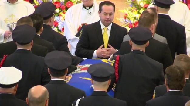 Christopher Roy's Casket Arrives at Church