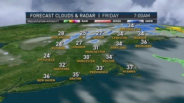 Snow Showers North, Skies Mostly Clear South