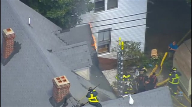 AERIAL FOOTAGE: 4-Alarm Fire in Boston