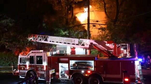 Crews Battle Fire in Brookline, Mass.