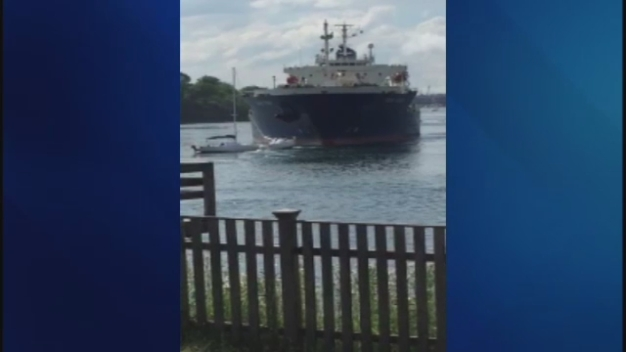 Oil Tanker Hits 3 Moored Sail Boats