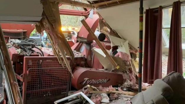 'Very Confusing': Wood Chipper Crashes Into Living Room in Mendon