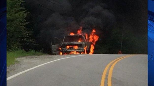 Van Fire, Explosion Shuts Down Highway in Deering