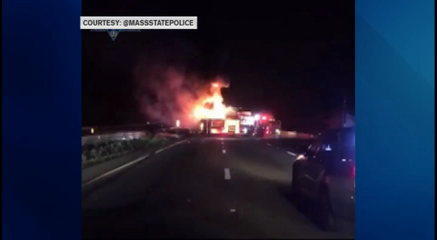 Tractor Trailer Erupts in Flames After Crash