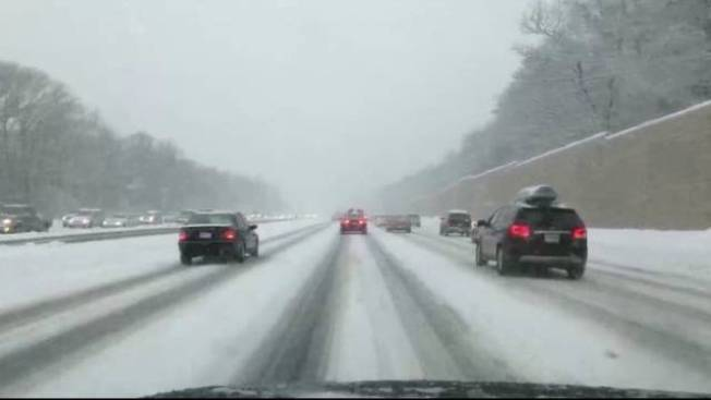 Messy Driving Conditions Around Mass. as Snow Falls
