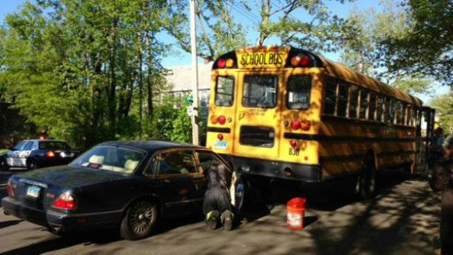 4 Injured When School Bus and Car Crash