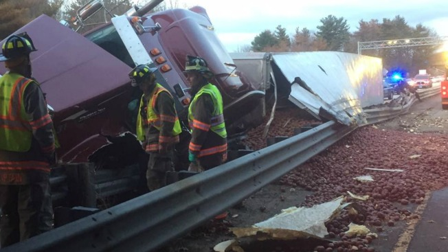 Spuds Spill Out After Potato Truck Crashes on Massachusetts Route 2