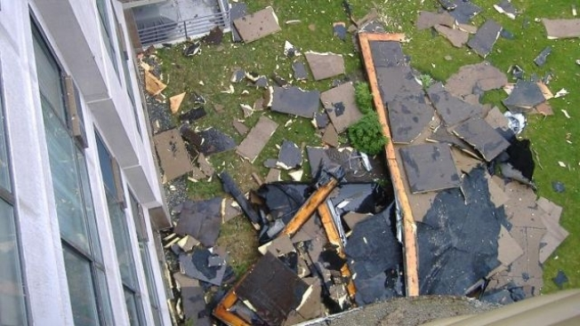 High Winds Rip Section of Roof Off Watertown, Mass. Condo