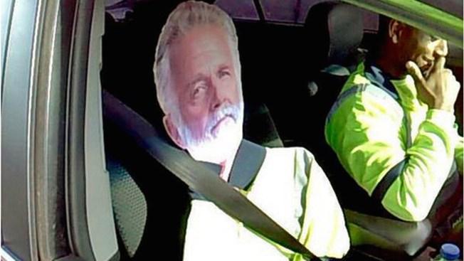 "Cardboard ""Most Interesting Man"" Fails as Carpool-Lane Ruse"