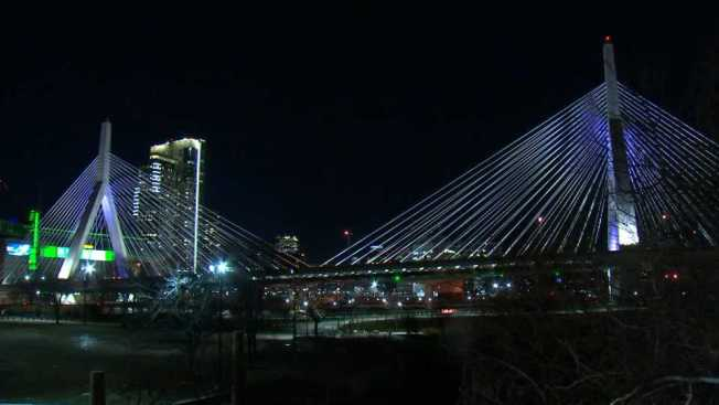Zakim, Burns Bridges Lit in Red, White and Blue for Super Bowl-Bound Pats