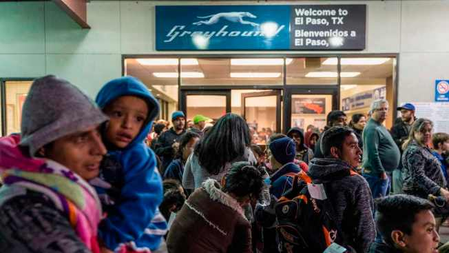 Migrant Families Must Wait Outside Greyhound Bus Stations