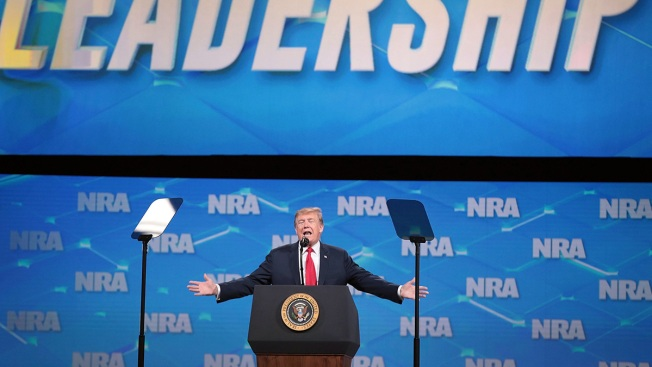 Cell Phone Lands on Stage as Trump Approaches Lectern at NRA Event