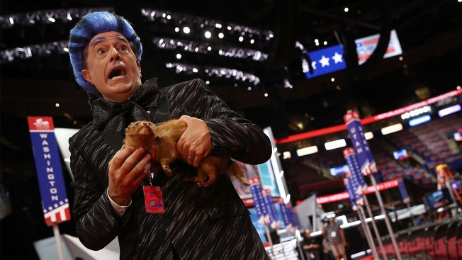 Stephen Colbert Crashes RNC Stage in 'Hunger Games' Prank