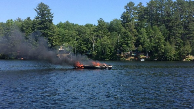 8 Rescued After Boat Fire on Maine Pond
