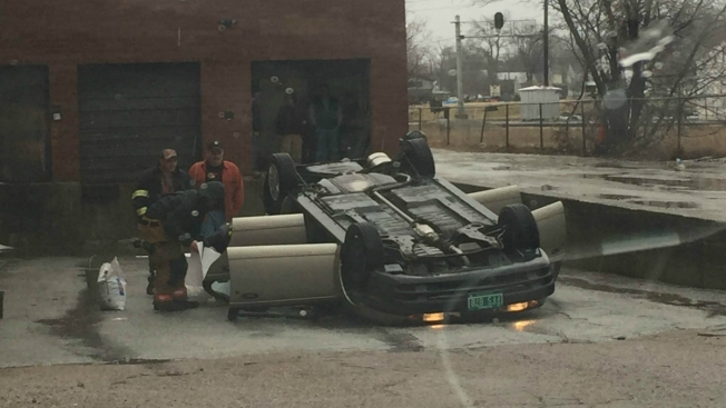 Car Rolls Over Outside Vermont Supermarket