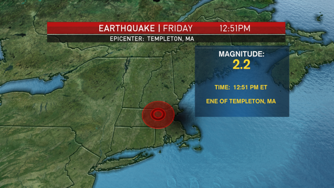 Magnitude 2.2 Earthquake Reported in Templeton, Massachusetts