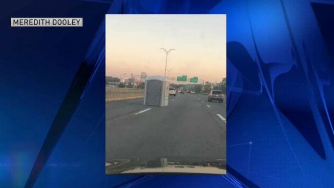 Portable Toilet Left on I-93 in Dorchester