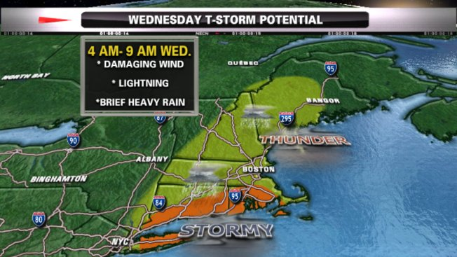 Thunderstorms, Damaging Winds Possible Wednesday Morning
