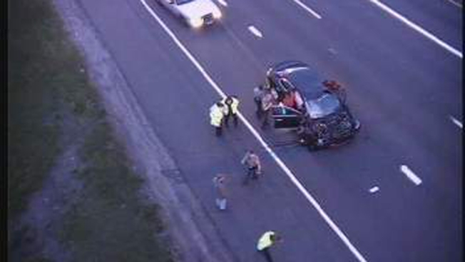 Truck Tire Comes Off, Hits Car in Windshield on I-91