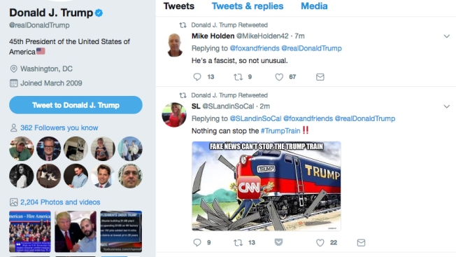 Trump Retweets User Calling Him a Fascist, New CNN Attack Meme