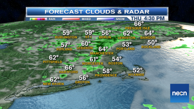 Clouds and Showers Consolidate in New England; Thunder May Be in Store