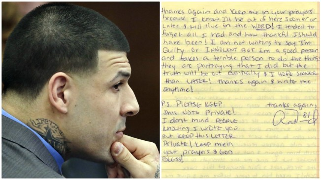 Early Aaron Hernandez Prison Letter Up For Auction Necn