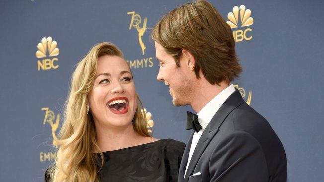 Yvonne Strahovski Accidentally Reveals She's Having a Boy on Emmys Red Carpet