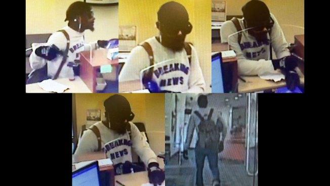 Armed Man in 'Breaking News' Sweatshirt Robs Boston Bank