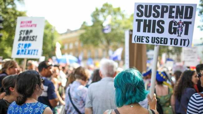 Crowds Gather in UK Cities to Protest Johnson's Brexit Plans
