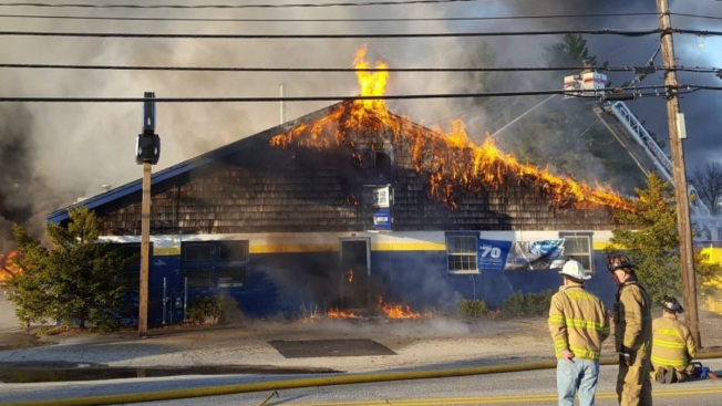Fire, Partial Building Collapse at New Hampshire Tire Shop