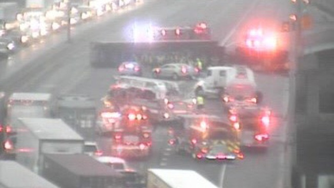 Tractor Trailer Rollover Closes I-95 in Bridgeport, Conn.