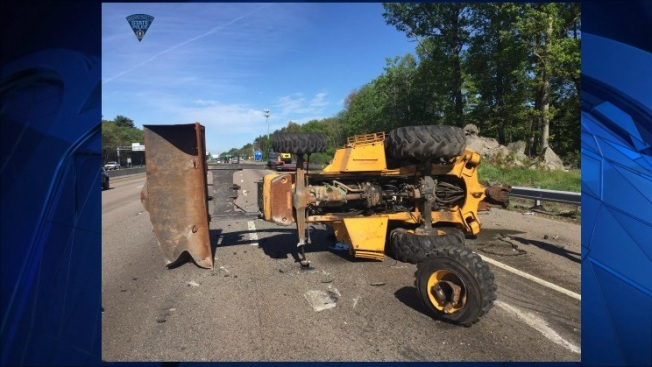 Trailer Hits Overpass on I-93 in Canton, Mass.