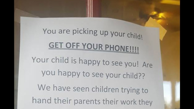 Day Care's Viral Message to Parents: 'Get Off Your Phone!'