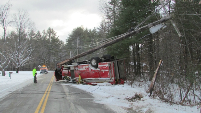 Fire Engine Flips Over on Icy N.H. Road
