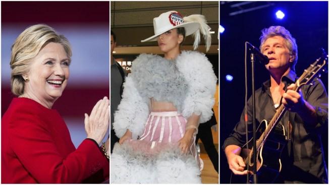 Lady Gaga, Bon Jovi Will Join Clinton for Midnight N.C. Rally
