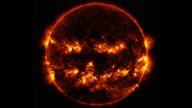 NASA Releases Jack-O'-Lantern Image of the Sun Just in Time for Halloween